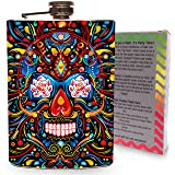 Trippy Skull Flask Stainless Steel 8oz Hip Flasks Day of the Dead Spirits Liquour Alcohol Container Flasks Colorful Rainbow Sugar Skulls