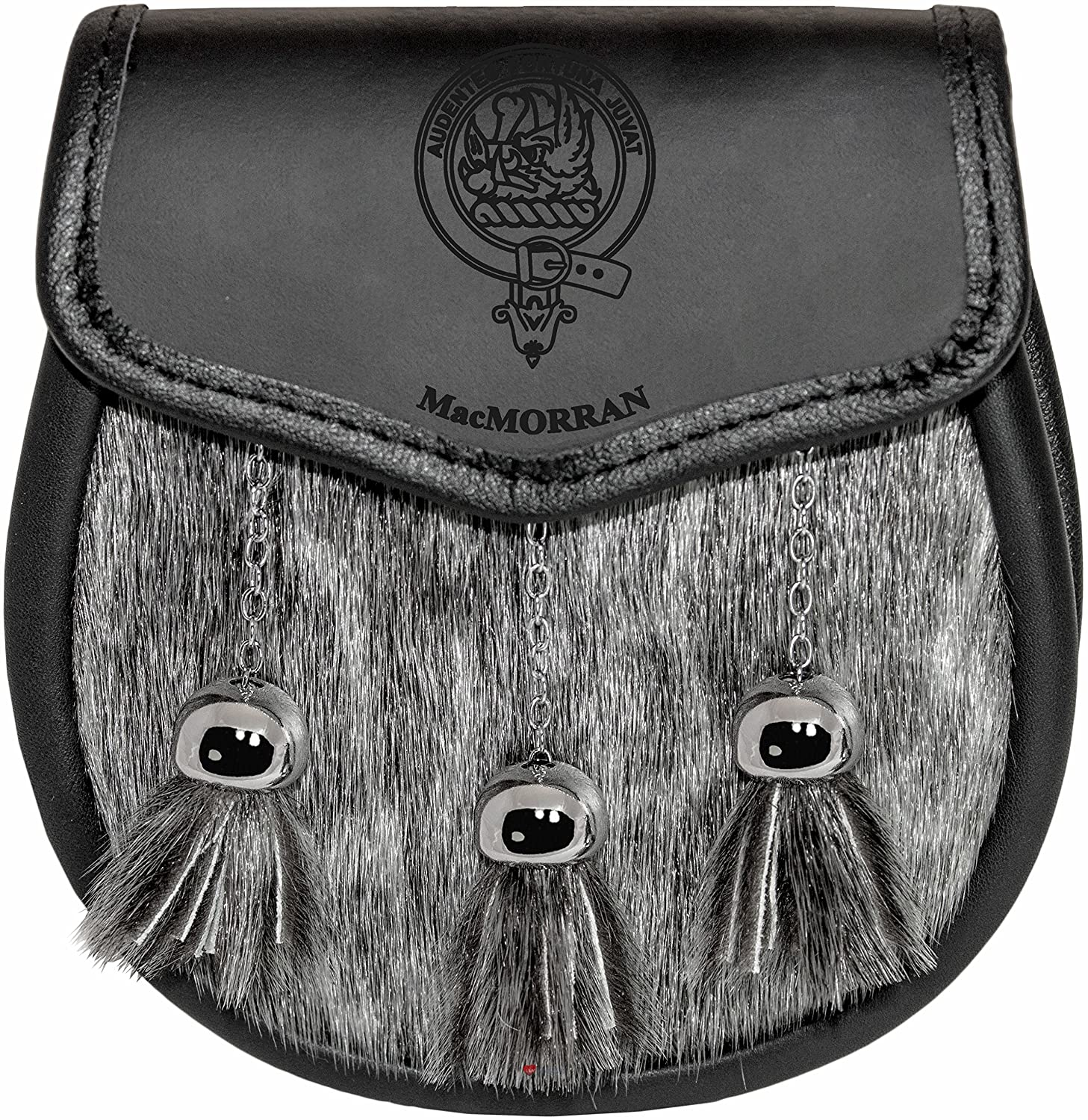 MacMorran Semi Sporran Fur Plain Leather Flap Scottish Clan Crest