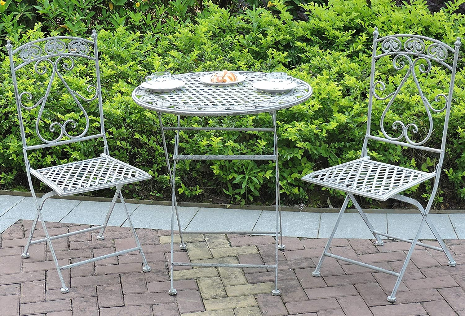GlamHaus Garden Bistro Set 3 Piece Outdoor Metal Foldable Patio Balcony Furniture Shabby Chic Toulouse Antique Blue
