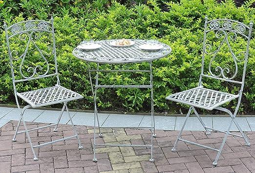 GlamHaus Garden Bistro Patio Plegable 3 Piezas de Metal jardín ...