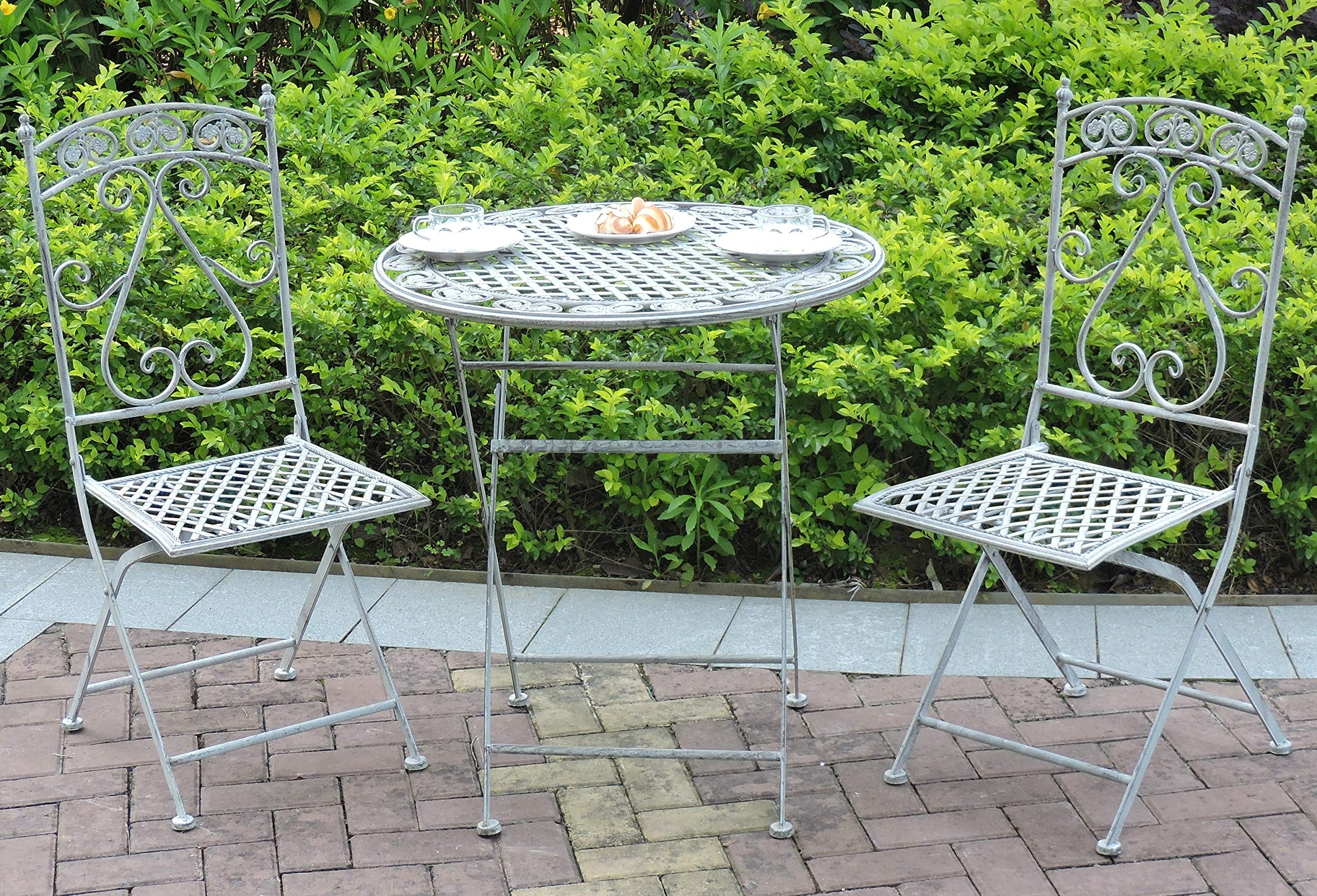GlamHaus Garden Bistro Patio Foldable 9 Piece Metal Garden Balcony  Furniture Set Outdoor Table and Two Folding Chairs Antique Grey Beautiful  Handmade