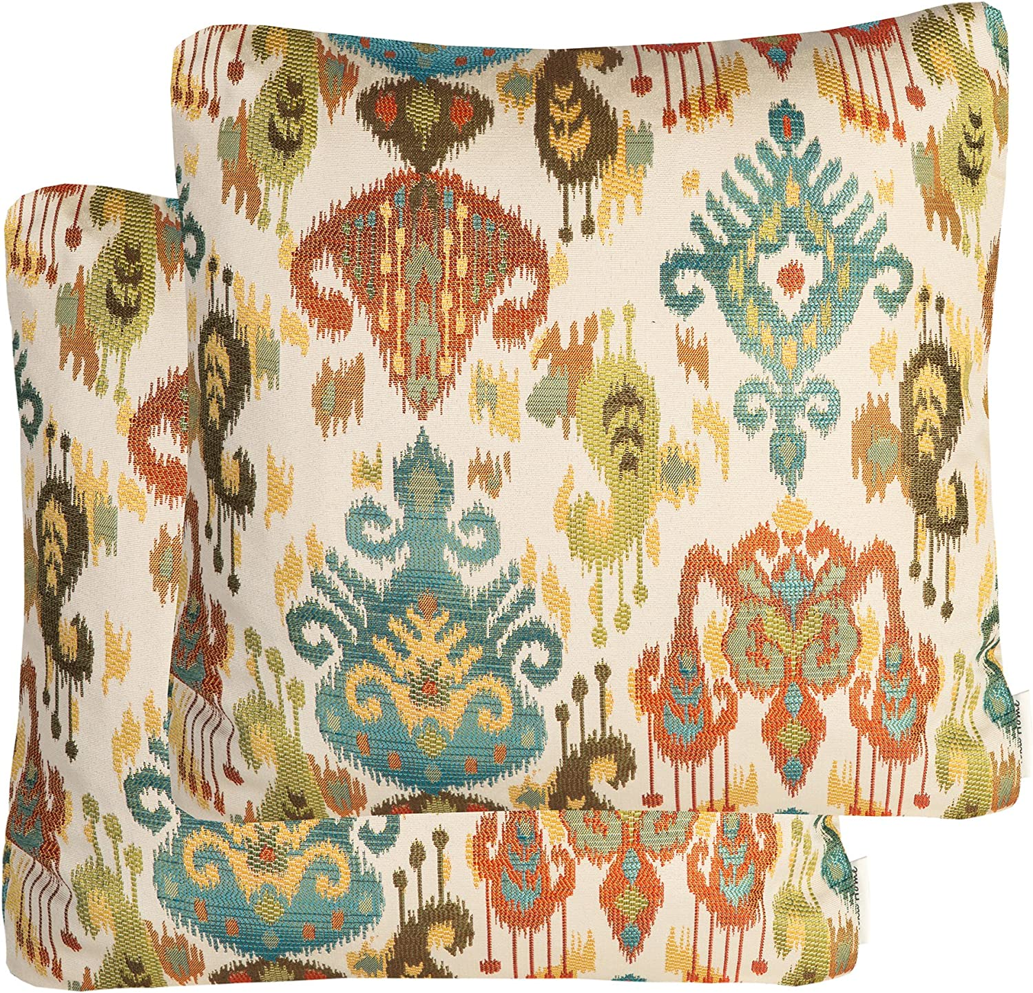Mika Home Pack of 2 Jacquard Damask Accent Throw Pillow Cases Cushion Covers for 20X20 Inserts Cream Teal Rust