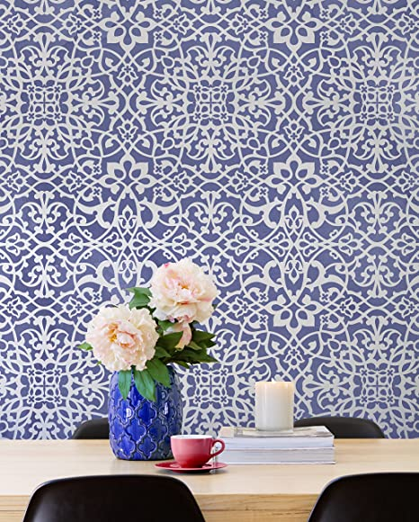 Palace Trellis Moroccan Wall Stencil For Painting Feature Wall Pattern Stencils Moroccan Wallpaper Stencils Diy Boho Glam Wall Decor