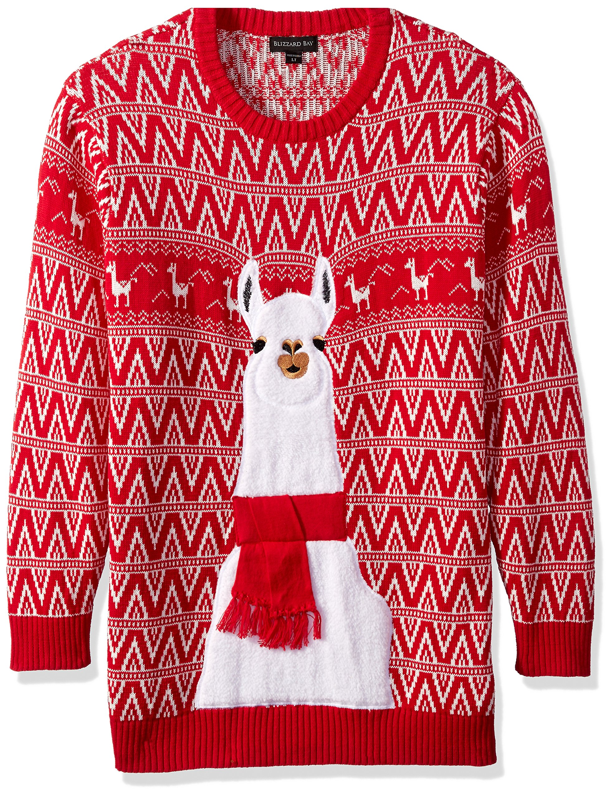 Big And Tall Ugly Christmas Sweater.Blizzard Bay Men S Size Festive Llama Ugly Christmas Sweater Large Tall