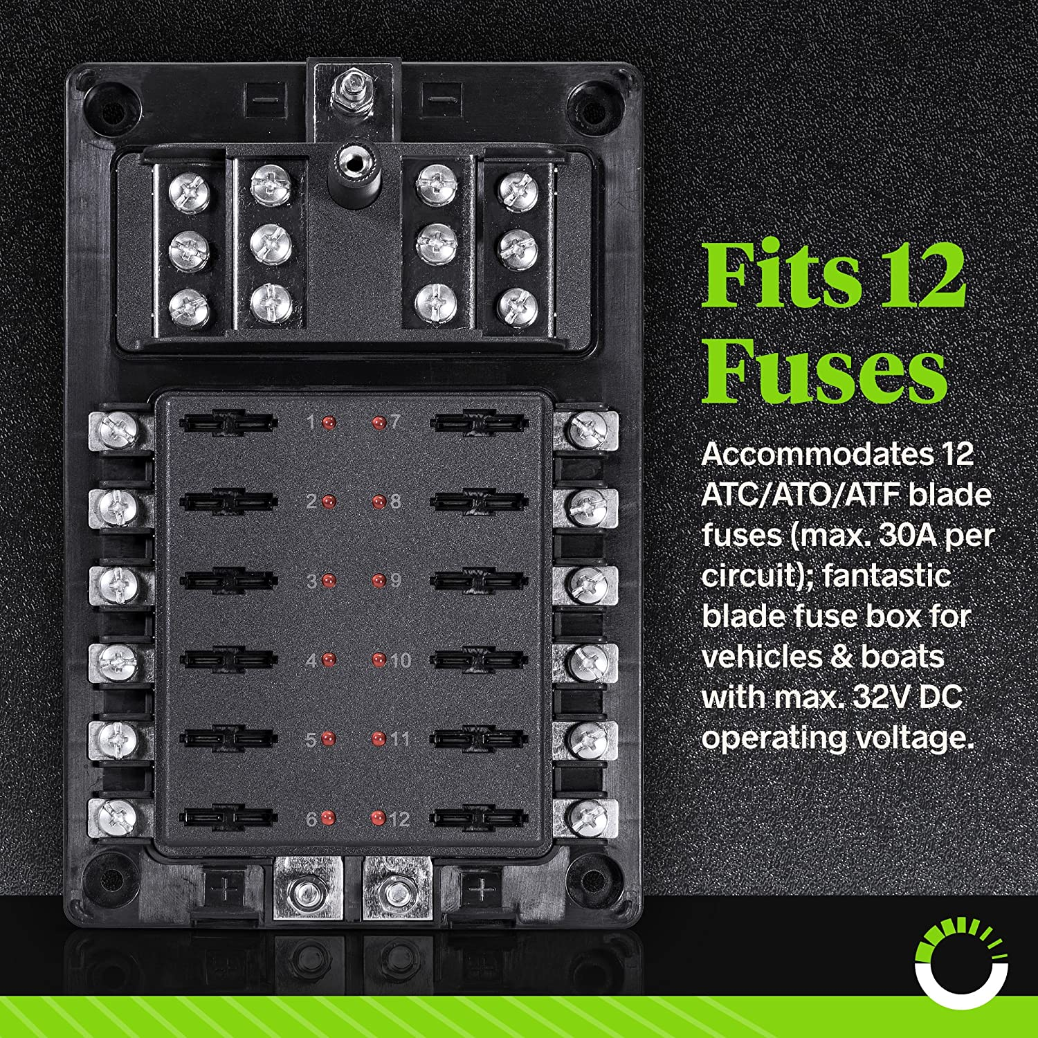 12 Circuit Blade Fuse Block W Thumbscrew Cover Led Box O Indicator Negative Ground Connection Dual Independent Positive Connections Stainless