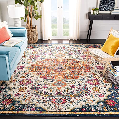 Safavieh Madison Collection MAD447A Boho Chic Vintage Medallion Distressed Area Rug, 10 x 14 , Ivory Orange