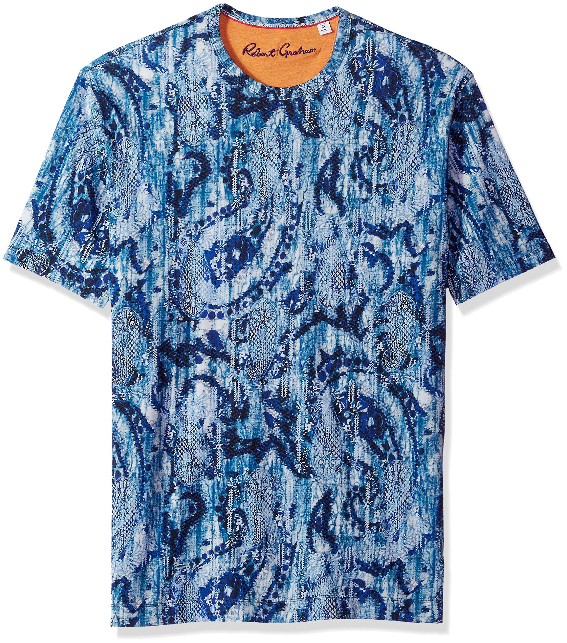 Robert Graham Men's Islets Cotton Modul Short Sleeve Knit Tee, Blue, Large
