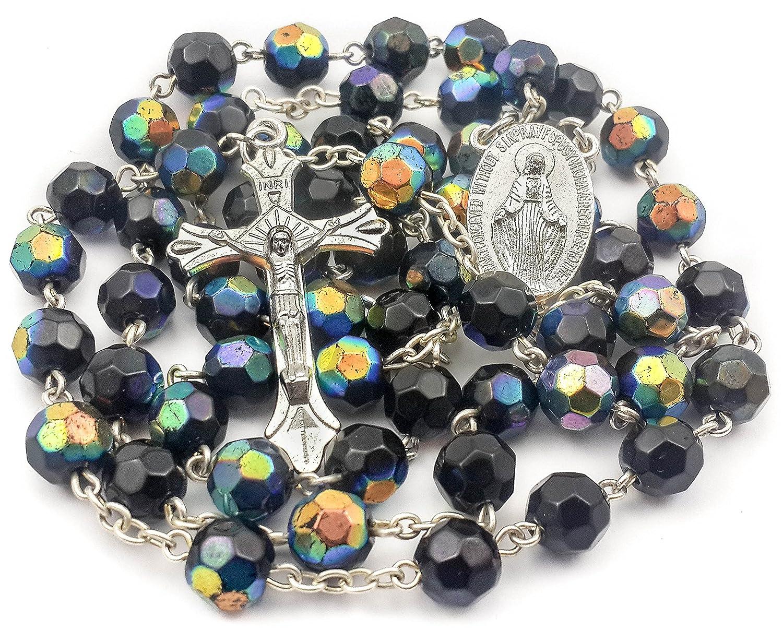 Católica único multicolor negro azul Unisex rosario collar de cuentas de cristal medalla Milagrosa y cruz Nazareth Store