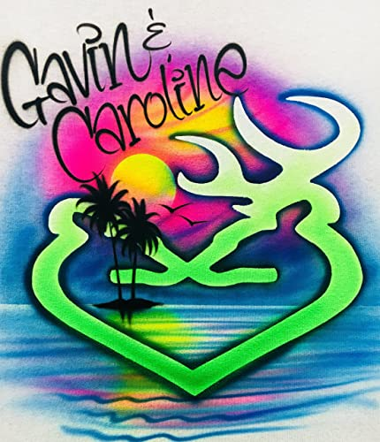 3492678f Image Unavailable. Image not available for. Color: Airbrush T Shirt, Buck  and Doe, Deer Shirt, Couples shirt with Beach Scene