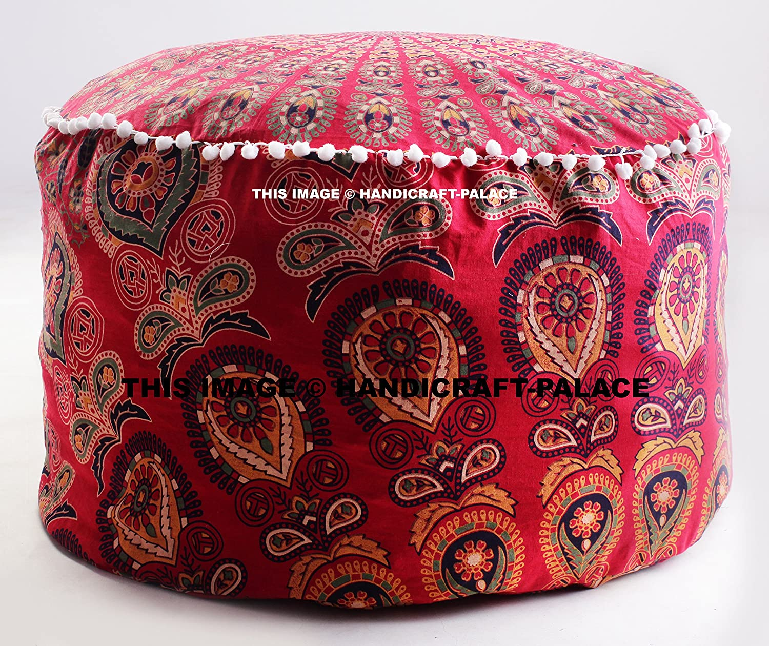 Floor Pillow Cover Large Seating Pouff Covers Bohemian Peacock Mandala Boho Indian Decor Ottoman Pouf Cover Seating Furniture Footstool Sold By Handicraft-Palace MOS-7