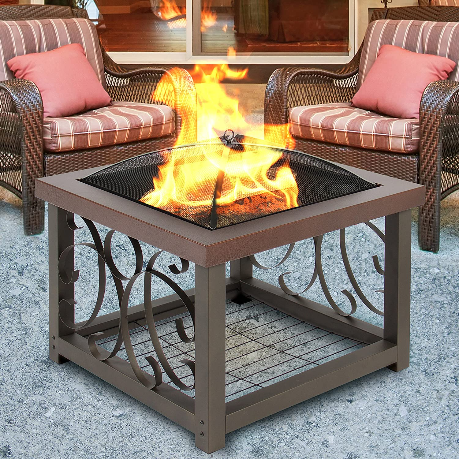 Amazon Best Choice Products Outdoor Cocktail Fire Pit Table