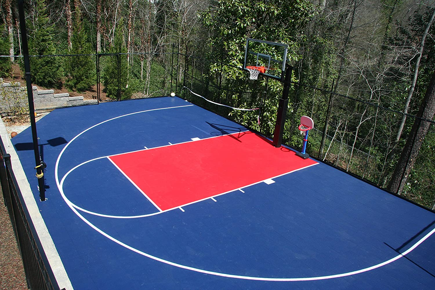 Amazoncom IncStores Outdoor Baskteball Court Flooring Half - Backyard basketball court ideas
