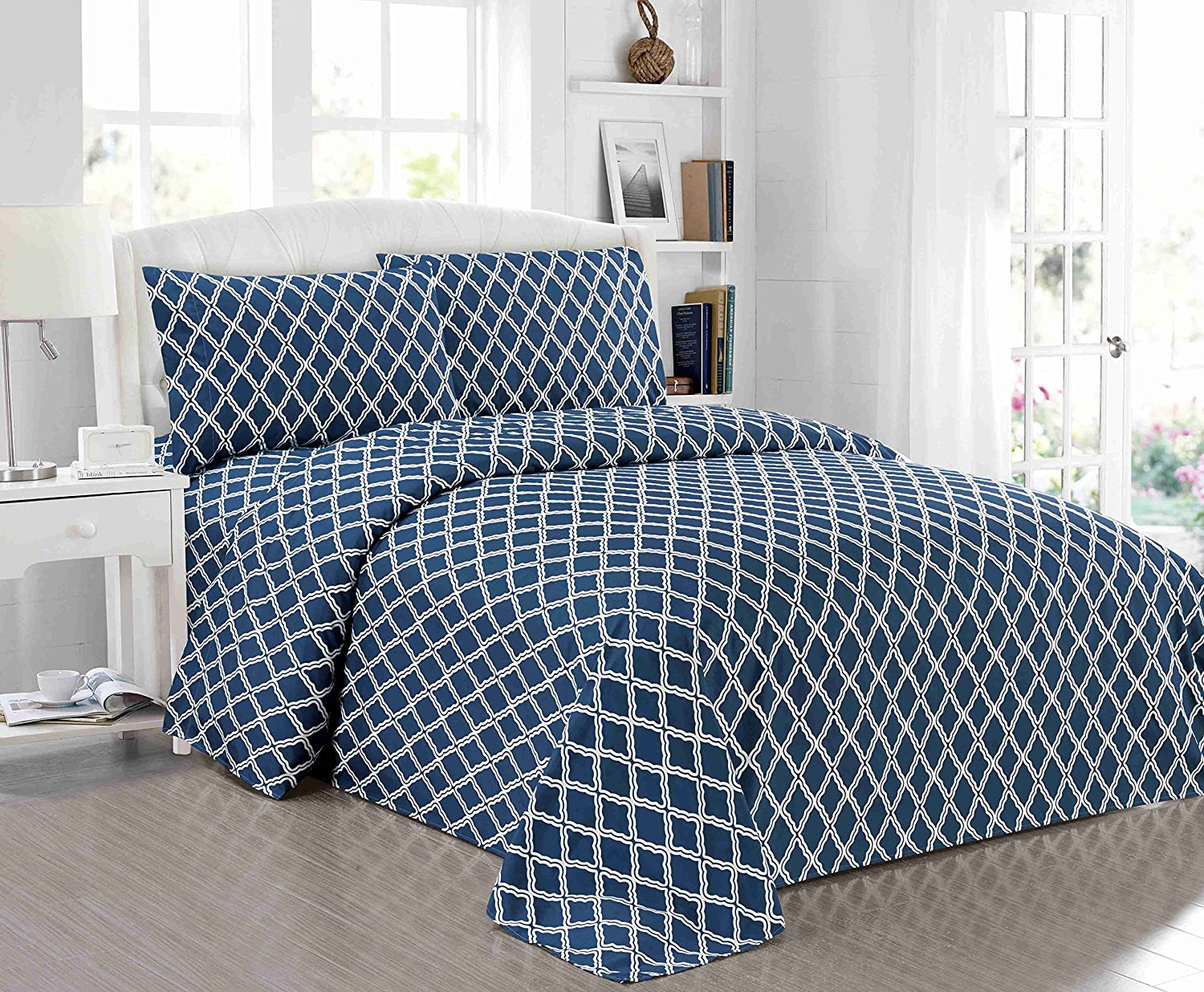3 Piece Sheet Set Geometric Cone Design Printing (Twin, Navy
