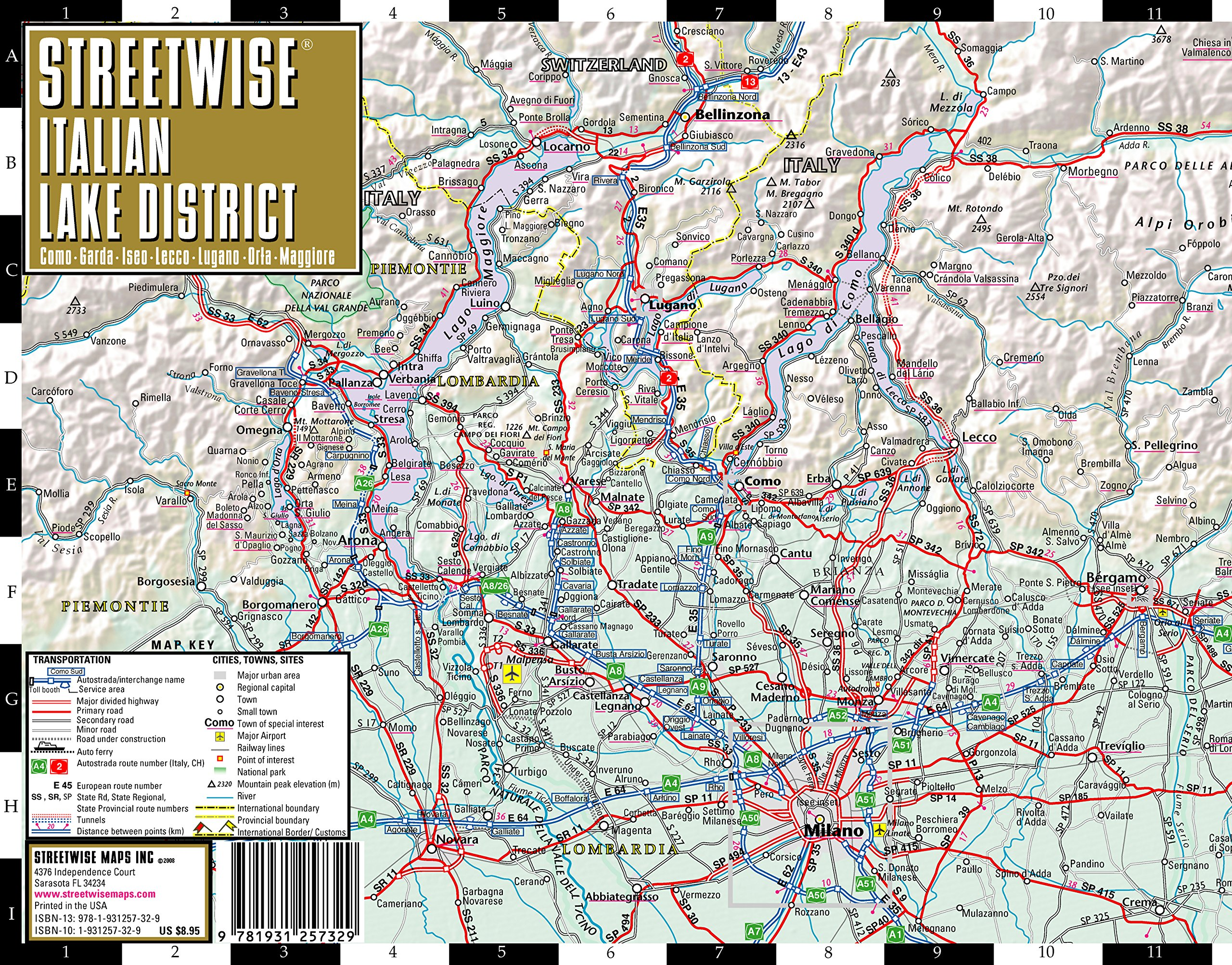 Streetwise Italian Lake District Map - Laminated Regional Map of the ...