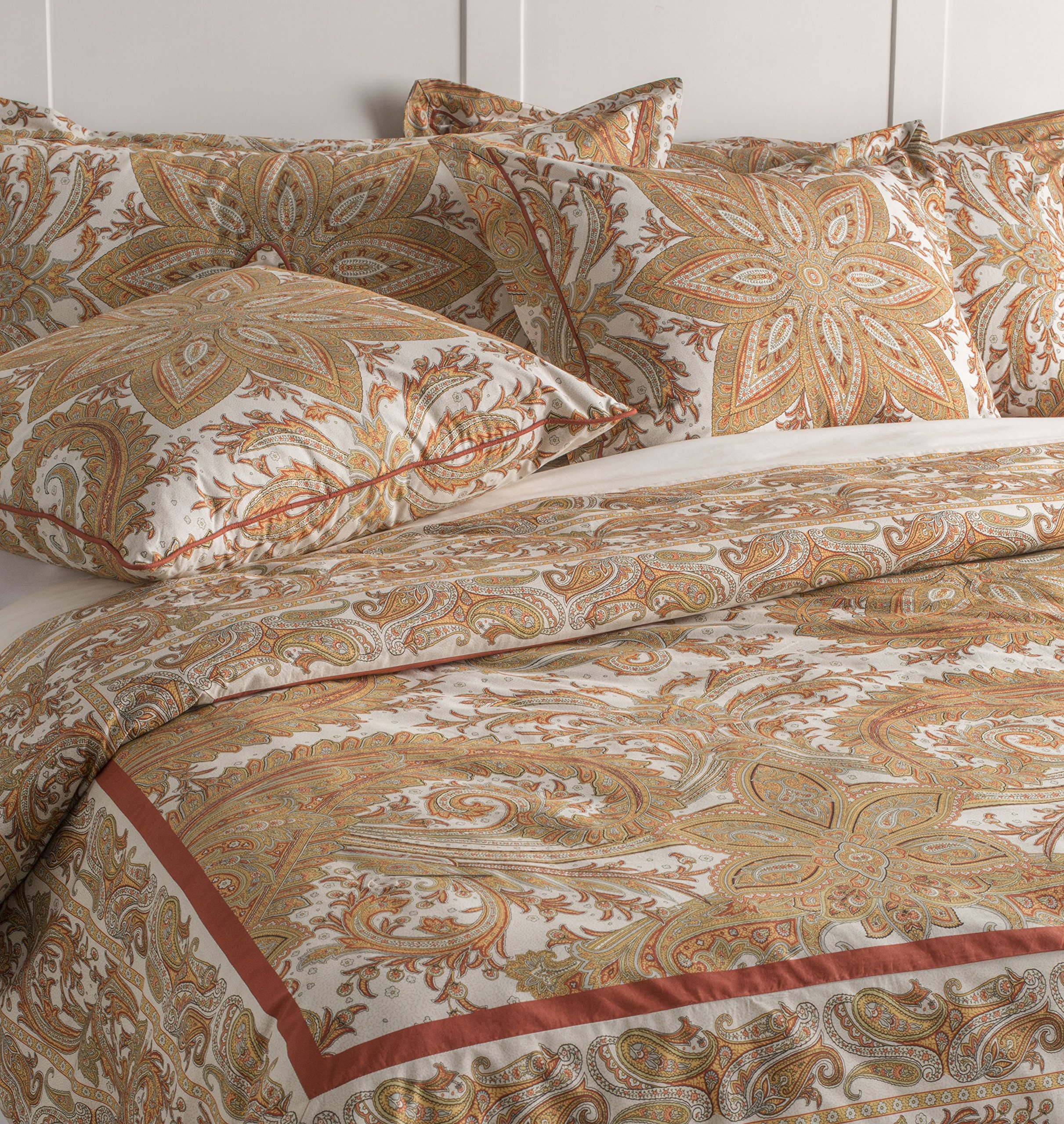 Maison d' Hermine Kashmir Paisley 100% Cotton King Duvet Cover Set 108 Inch by 92 Inch with 2 King Sham 36 Inch by 20 Inch. Perfect for Thanksgiving and Christmas