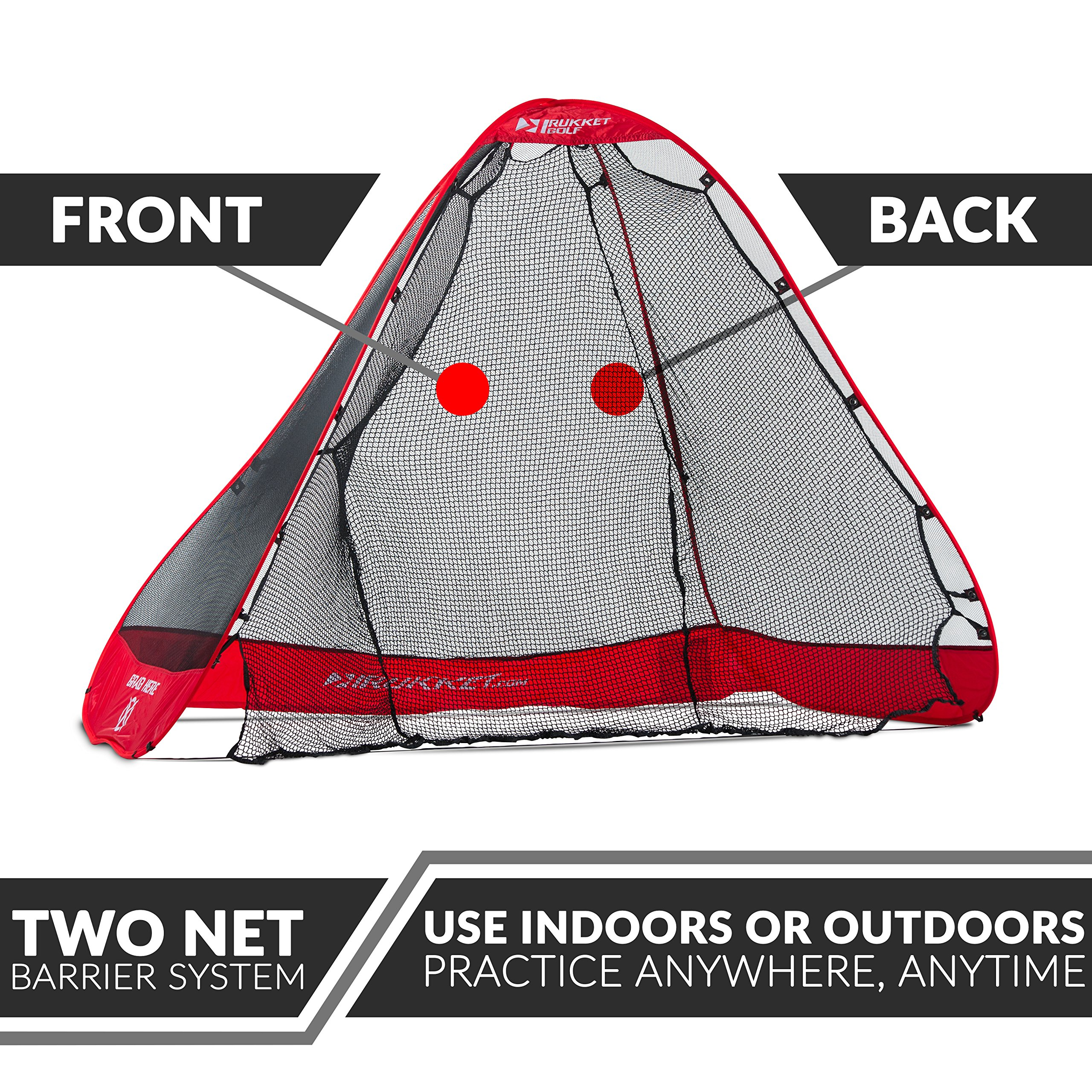 Rukket 4pc Golf Bundle | 10x7ft Portable Driving Net | Chipping Target | Tri-Turf Hitting Mat | Carry Bag | Practice Outdoor and Indoor by Rukket Sports (Image #3)