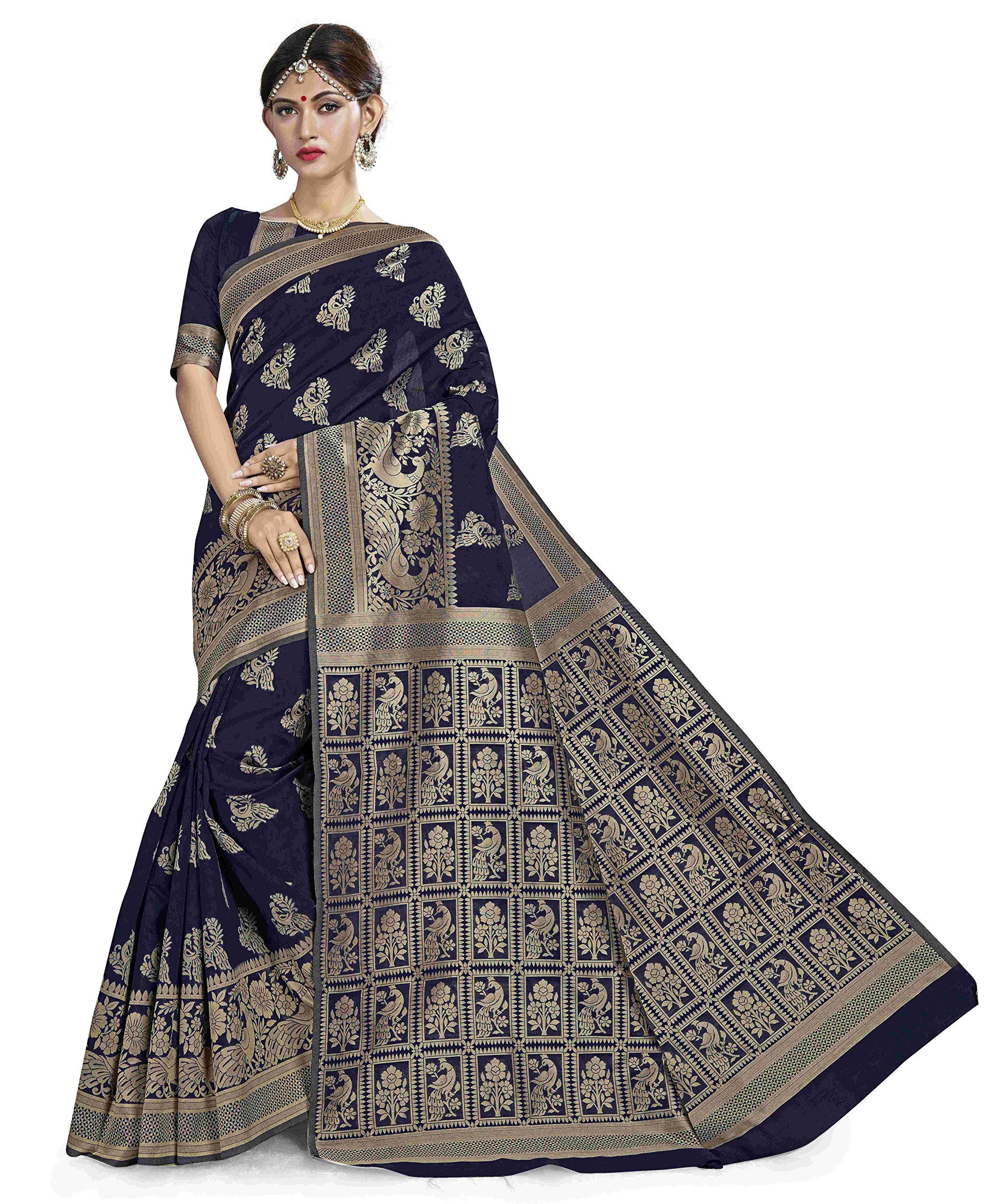 Saree for Women's Designer Bollywood Indian saree for women Traditional Festival PartyWear Wedding Half N Half Diamond With Embroidery Work Saree Latest Design With Unstiched Blouse(Saree # Sari)