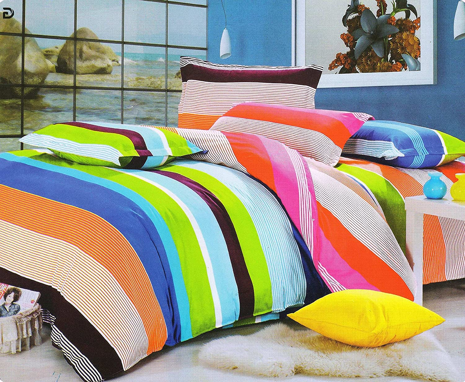 efa90525706 Buy HFI140 TC 3D Printed Polycotton Double Bed Sheet with 2 Pillow Cover  (88X96 inches) - Multicolor Online at Low Prices in India - Amazon.in