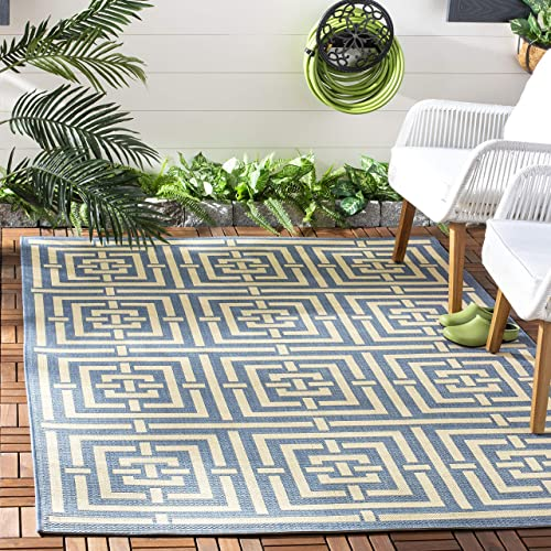 Safavieh Courtyard Collection CY6937-23 Blue and Bone Indoor Outdoor Area Rug 6 7 x 9 6