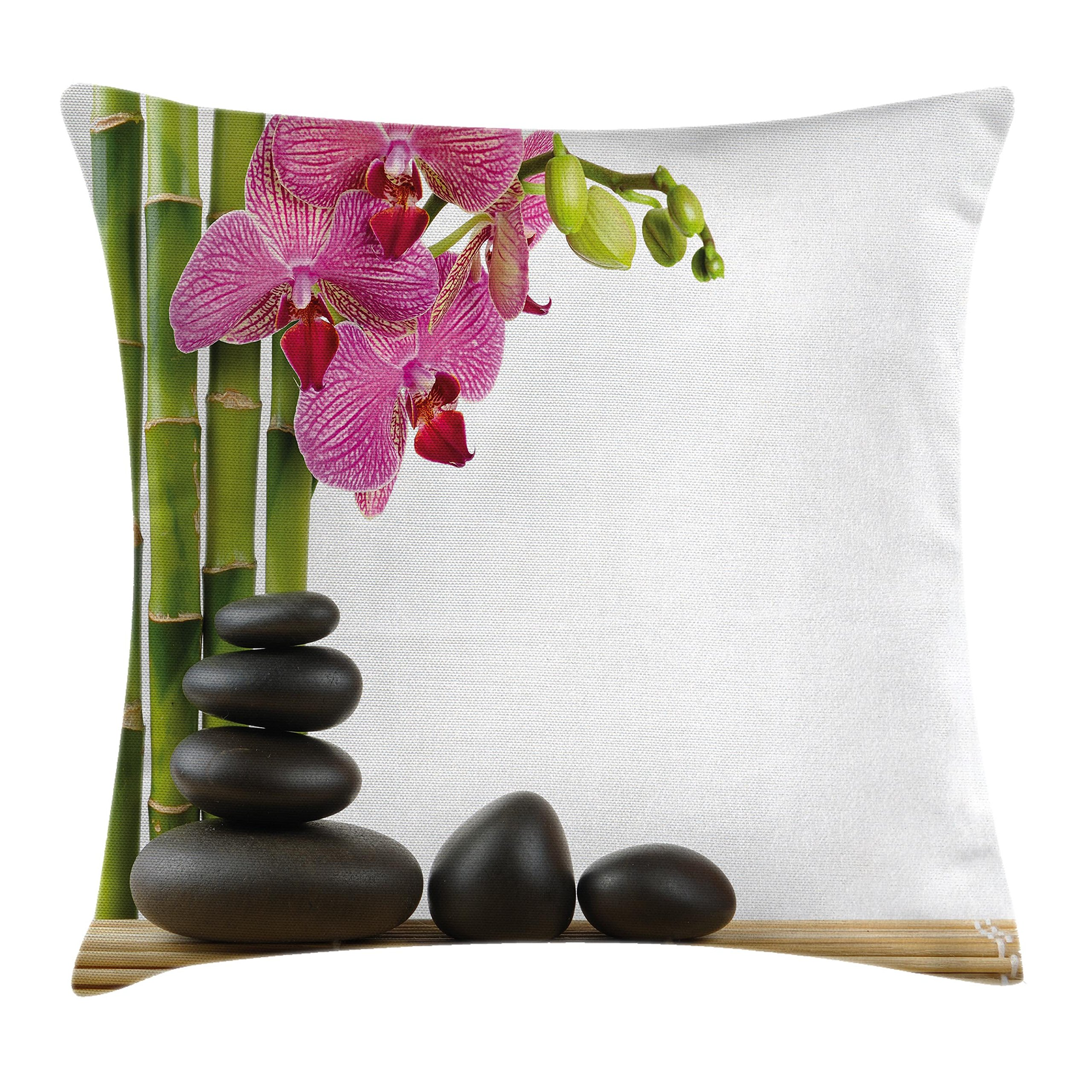 Ambesonne Spa Decor Throw Pillow Cushion Cover, Beautiful Pink Orchid with Bamboos and Black Hot Stone Massage Image, Decorative Square Accent Pillow Case, 18 X18 Inches, Pink Green and Black