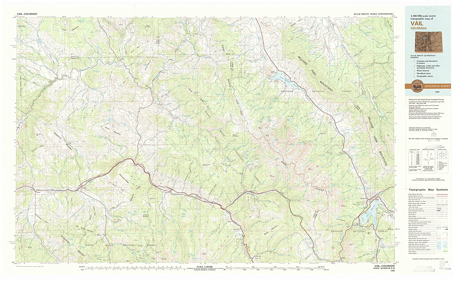 Amazon.com : YellowMaps Vail CO topo map, 1:100000 Scale, 30 ...