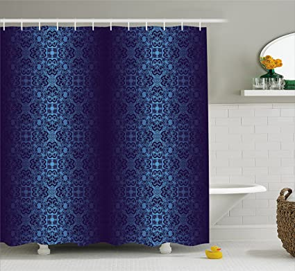 Lunarable Royal Blue Shower Curtain Baroque Inspired Damask Victorian Vintage Classic Shabby Rococo Style Motif