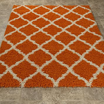 ottomanson ultimate shaggy collection moroccan trellis design shag rug bedroom and living room soft shag - Shag Carpet