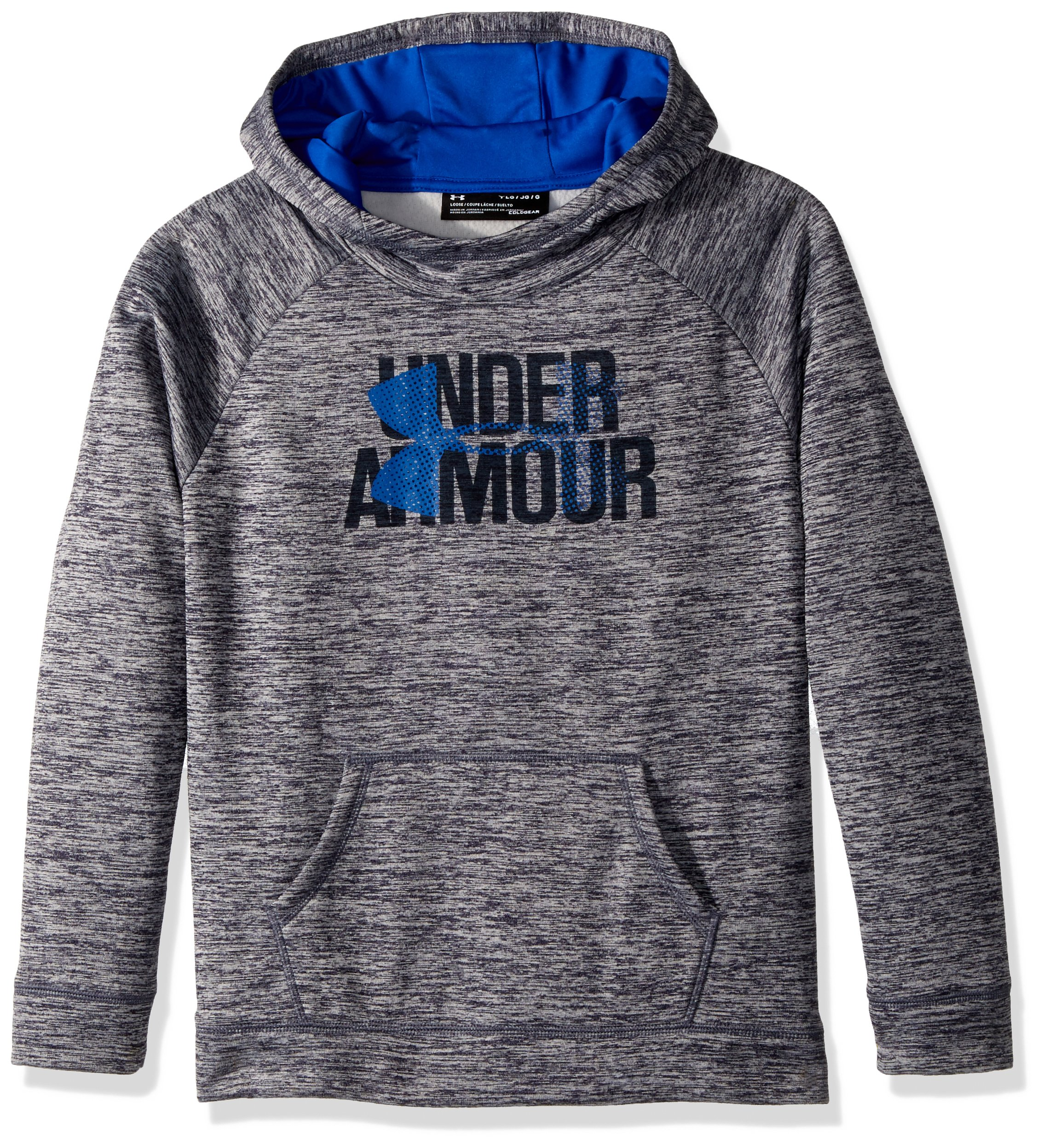 Under Armour Girls' Armour Fleece Big Logo Printed Hoodie, Midnight Navy (410)/Lapis Blue, Youth Small by Under Armour