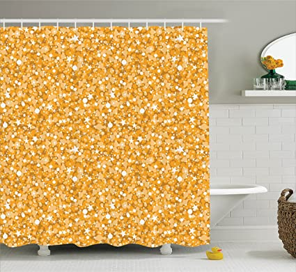 Amazon.com: Ambesonne Yellow Shower Curtain, Golden Yellow Texture ...