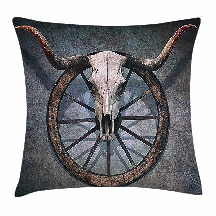 Granero madera rueda de carro manta almohada Funda de cojín por Ambesonne, Decor con diseño