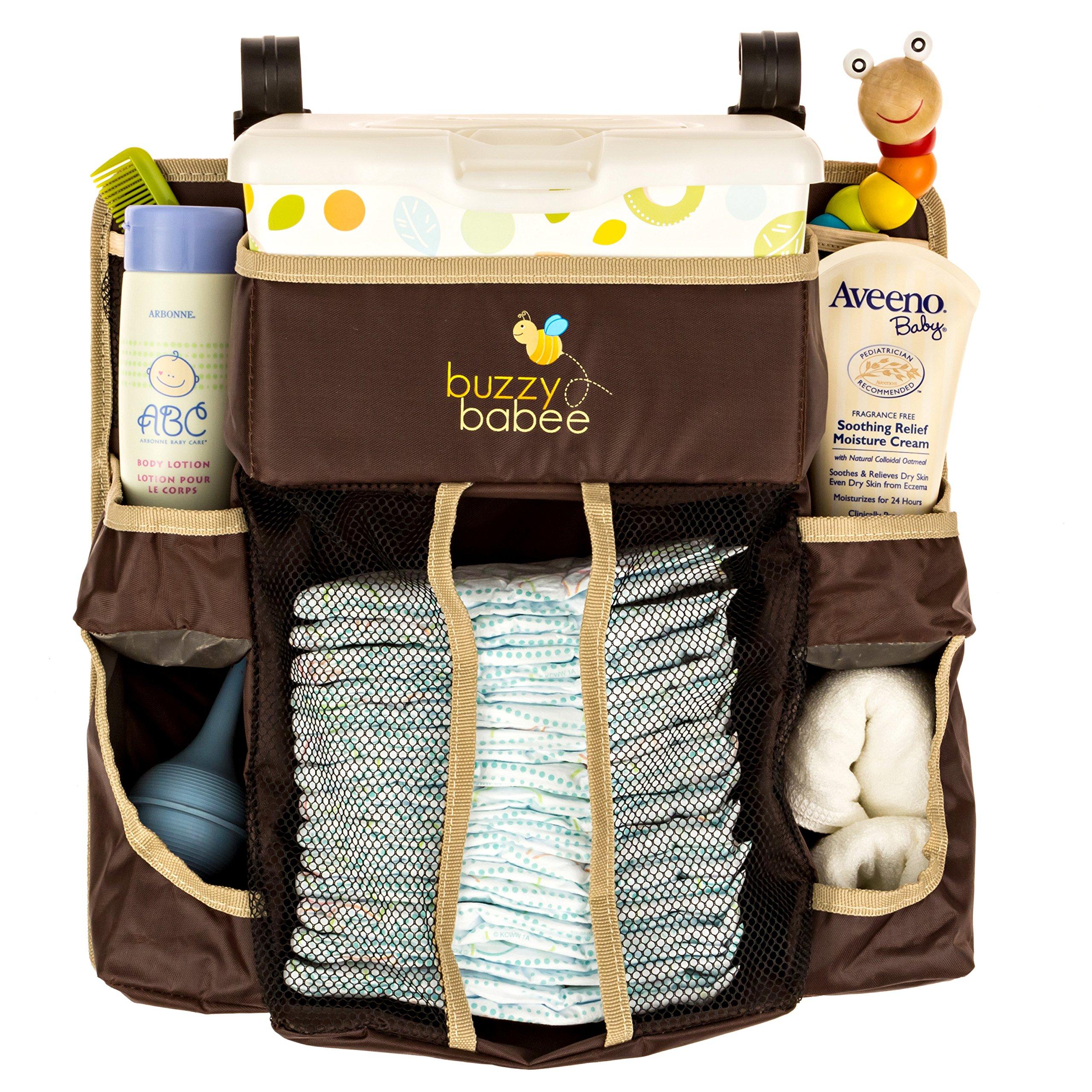 Buzzy Babee Diaper Change Organizer, Brown/Coffee Perfect Diaper Caddy & Playard Organizer