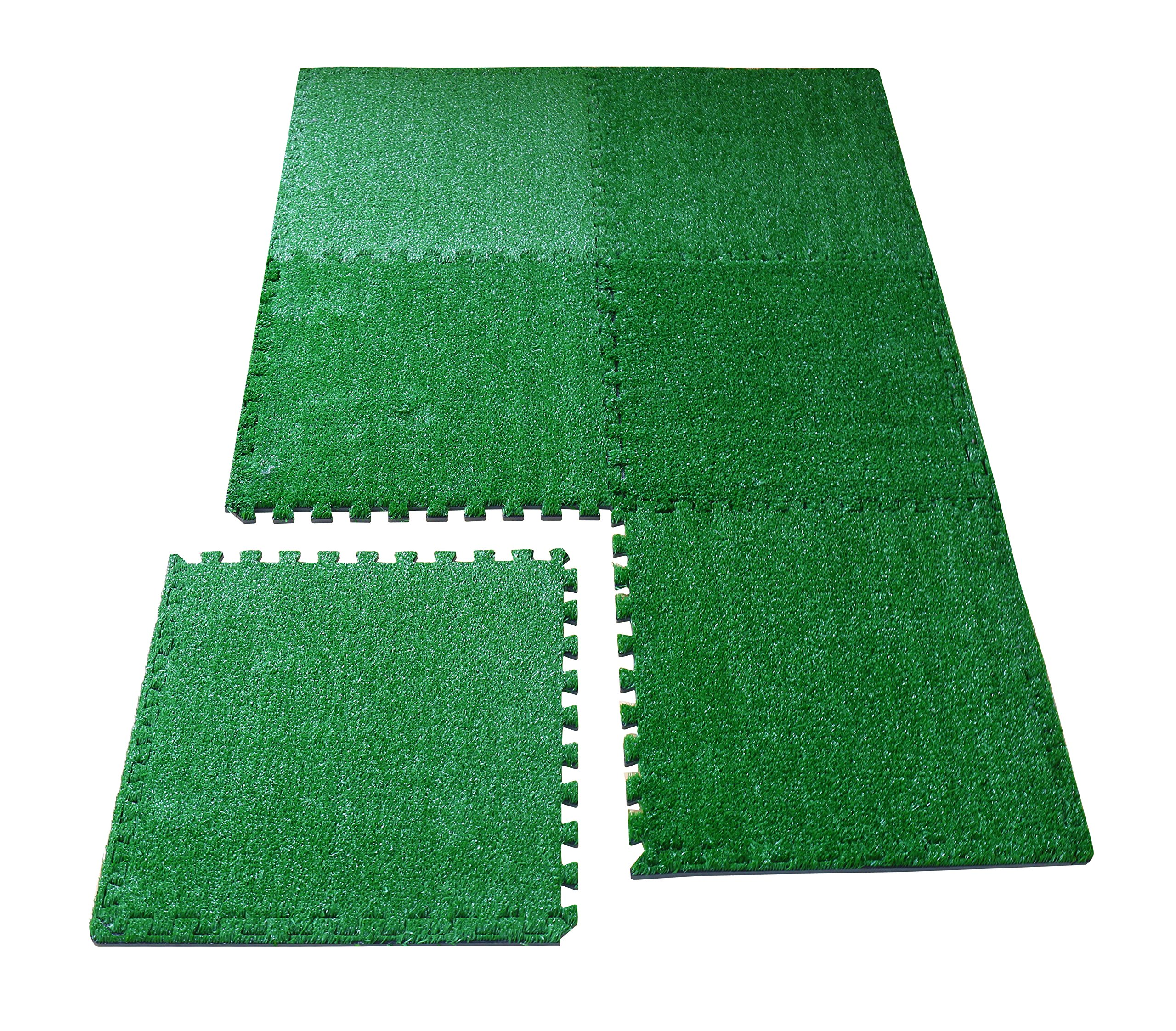 LaFamille Artificial Grass Interlocking Foam Mat 6 Tiles