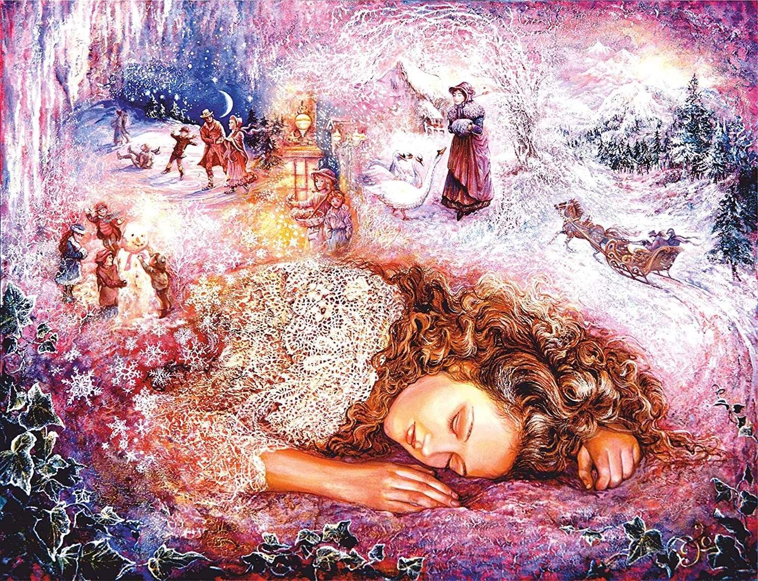 Wooden Jigsaw Puzzle Winter Dreaming Artist Josephine Wall, 1000 Pieces for Adult, Entertainment DIY Toys for Graet Gift Home Decor