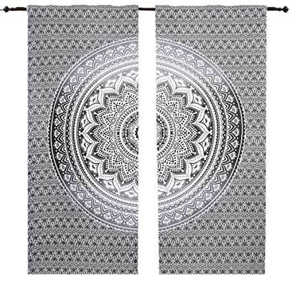 Grey Ombre Black White Mandala Curtain Set Wall Hanging Cotton Window Treatments Indian Hippie Curtains Bohemian