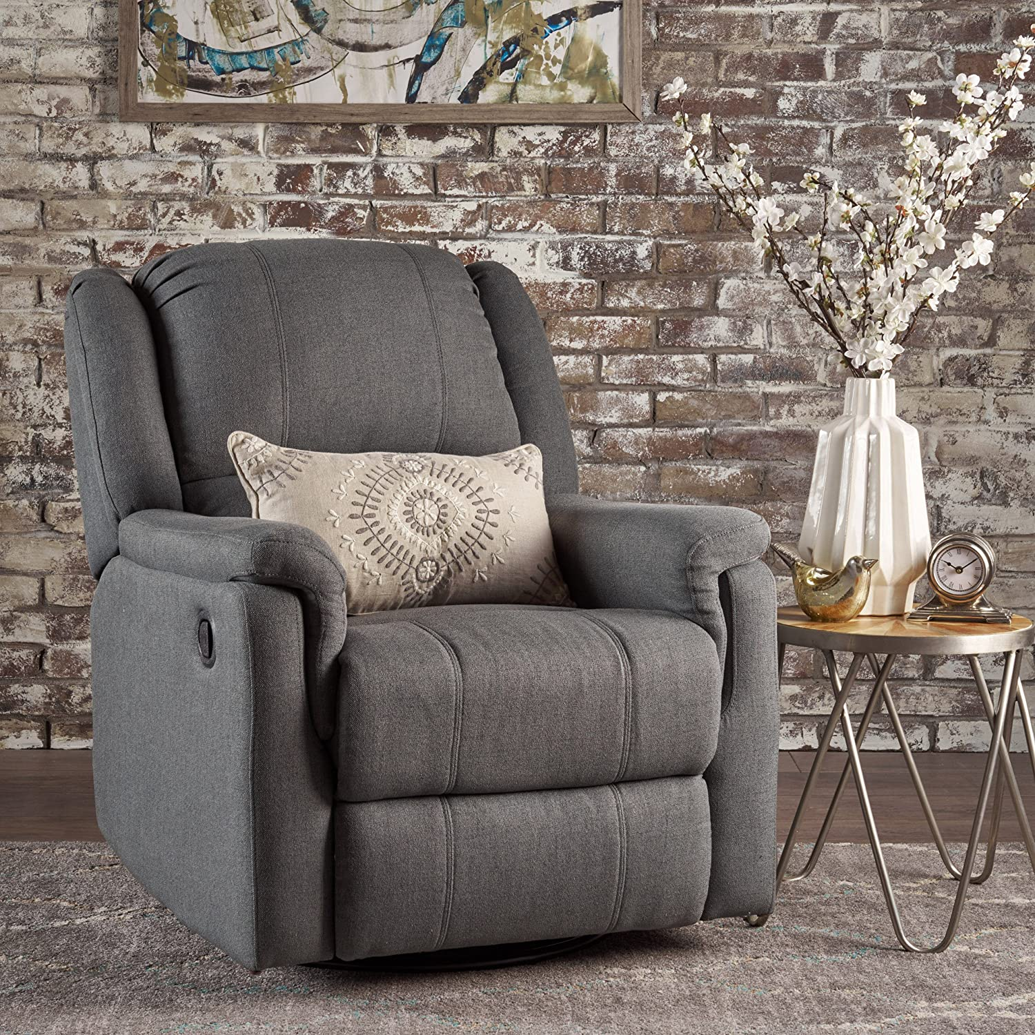 Christopher Knight Home 302057 Jemma Swivel Gliding Recliner Chair Charcoal