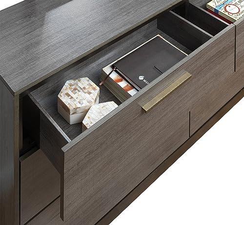 Furniture of America Wendler Modern 2 Piece Dresser and Mirror Set, One Size, Antique Gray