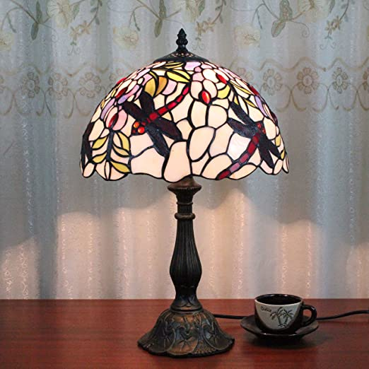 12 inch european creative vintage pastoral dragonfly handmade stained glass table lamp desk lamp
