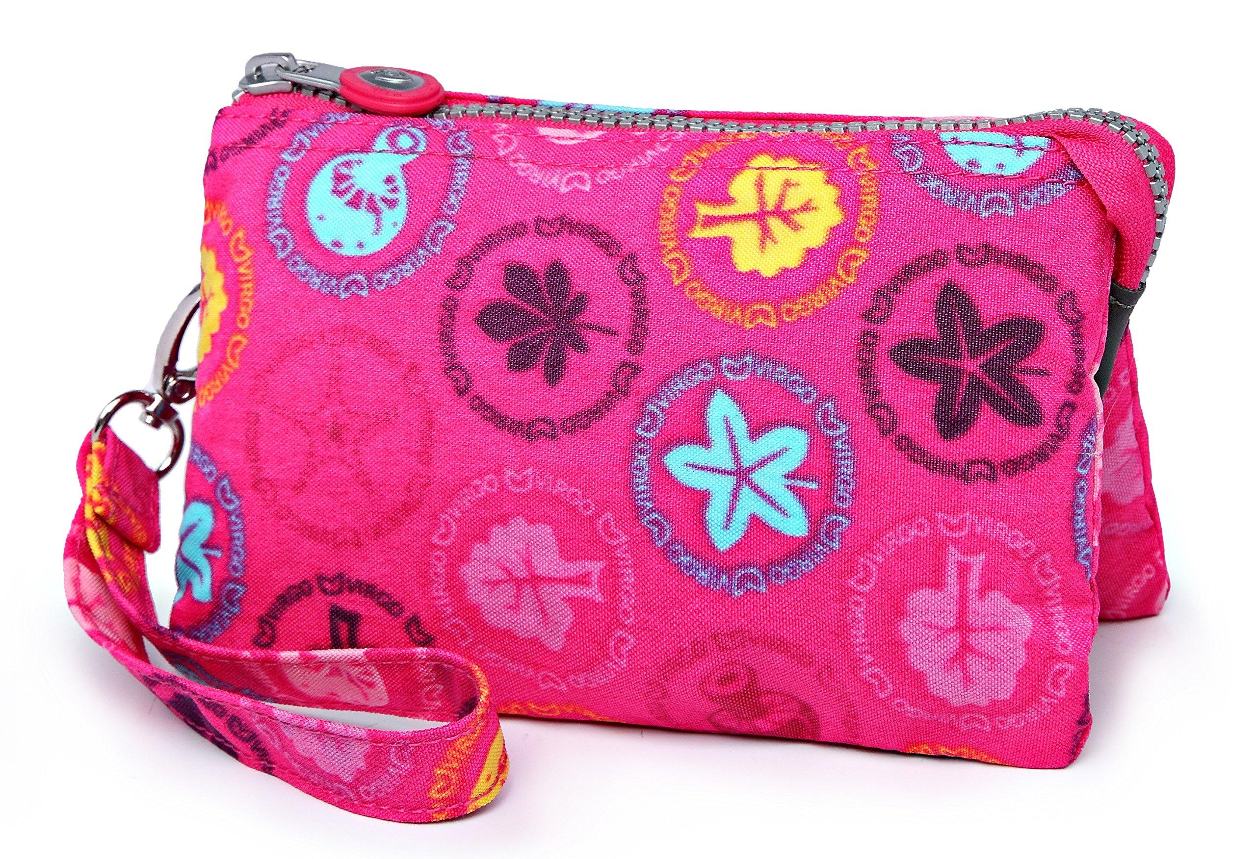 Crest Design Water Repellent Nylon Wristlet Clutch Wallet Cell Phone Pouch (Pink Wonderland)