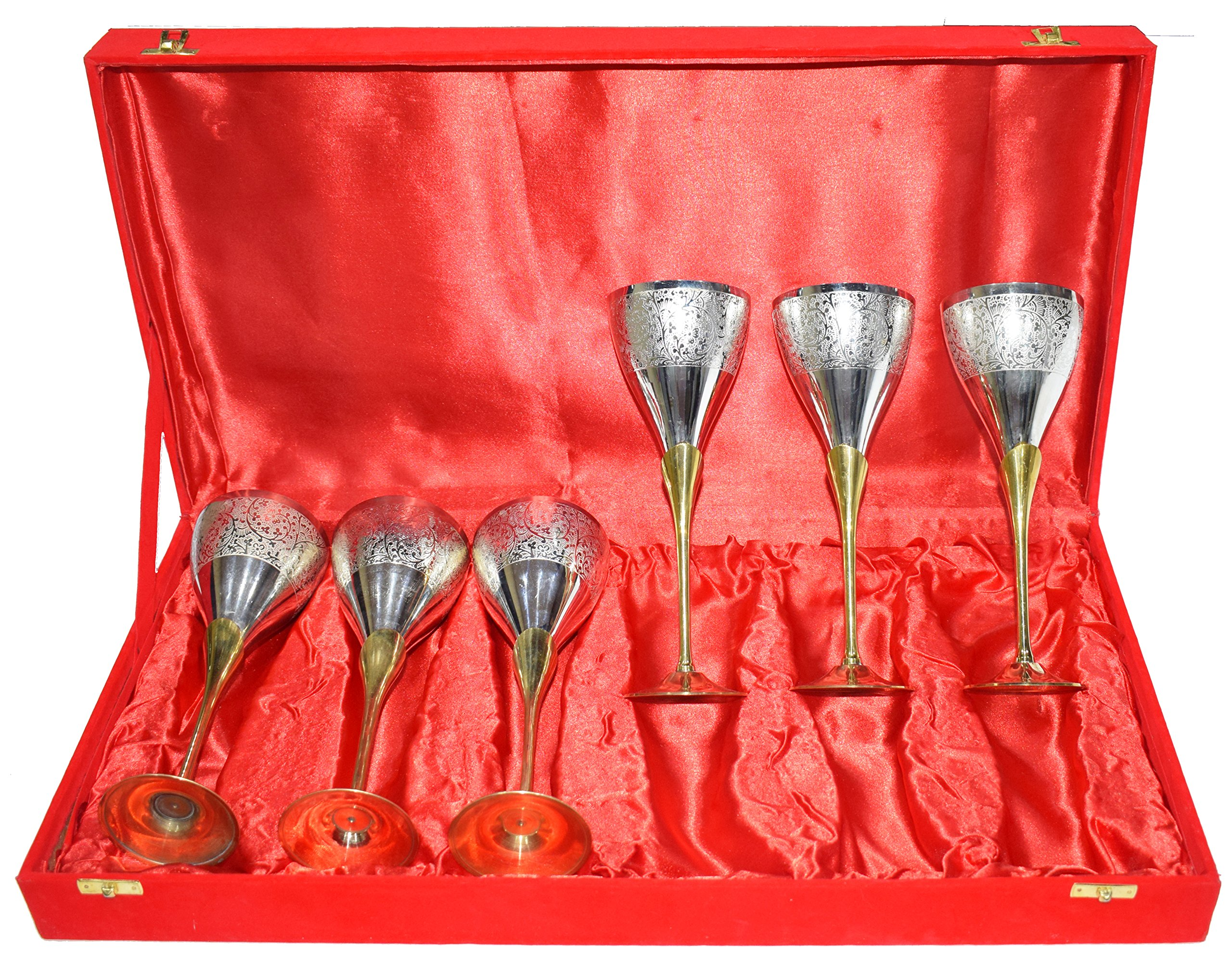 Gold Silver Plated Pure Brass Engraved Premium Goblet Champagne Wine Glass With Red Velvet Box Set of 6 Party Glass Dining Set Business Gift.. Perfect Christmas Gift …