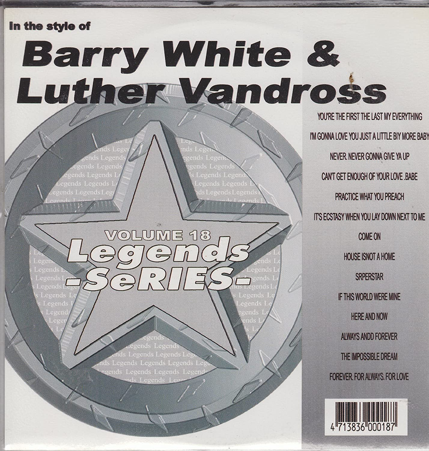 Amazon Legends Karaoke Cdg Hits Of Barry White And Luther
