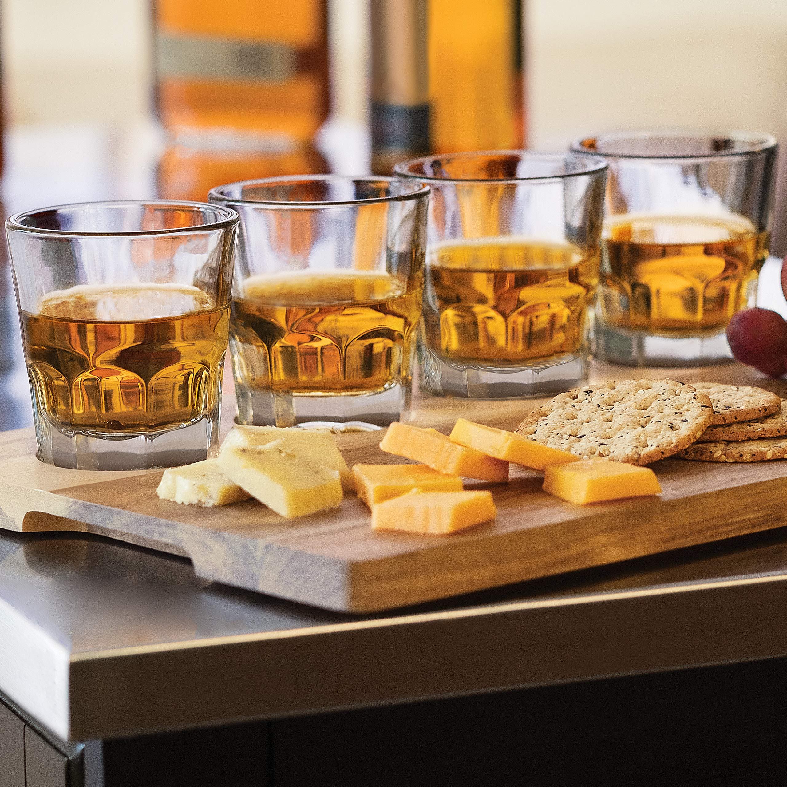 Libbey Craft Spirits Whiskey Flight Glass Set with Wood Carrier, 4 Glasses