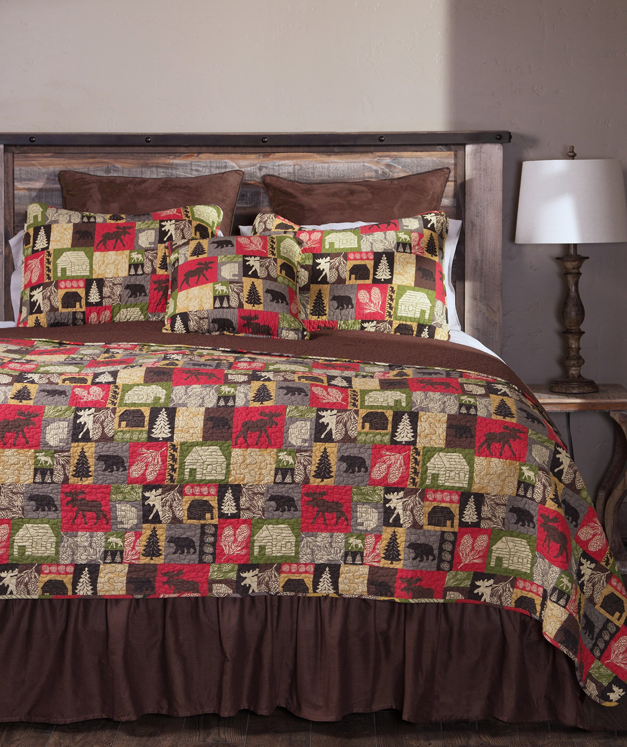 Carstens Cabin in The Woods 5 Piece Cotton Printed Quilt Bedding Set, Queen