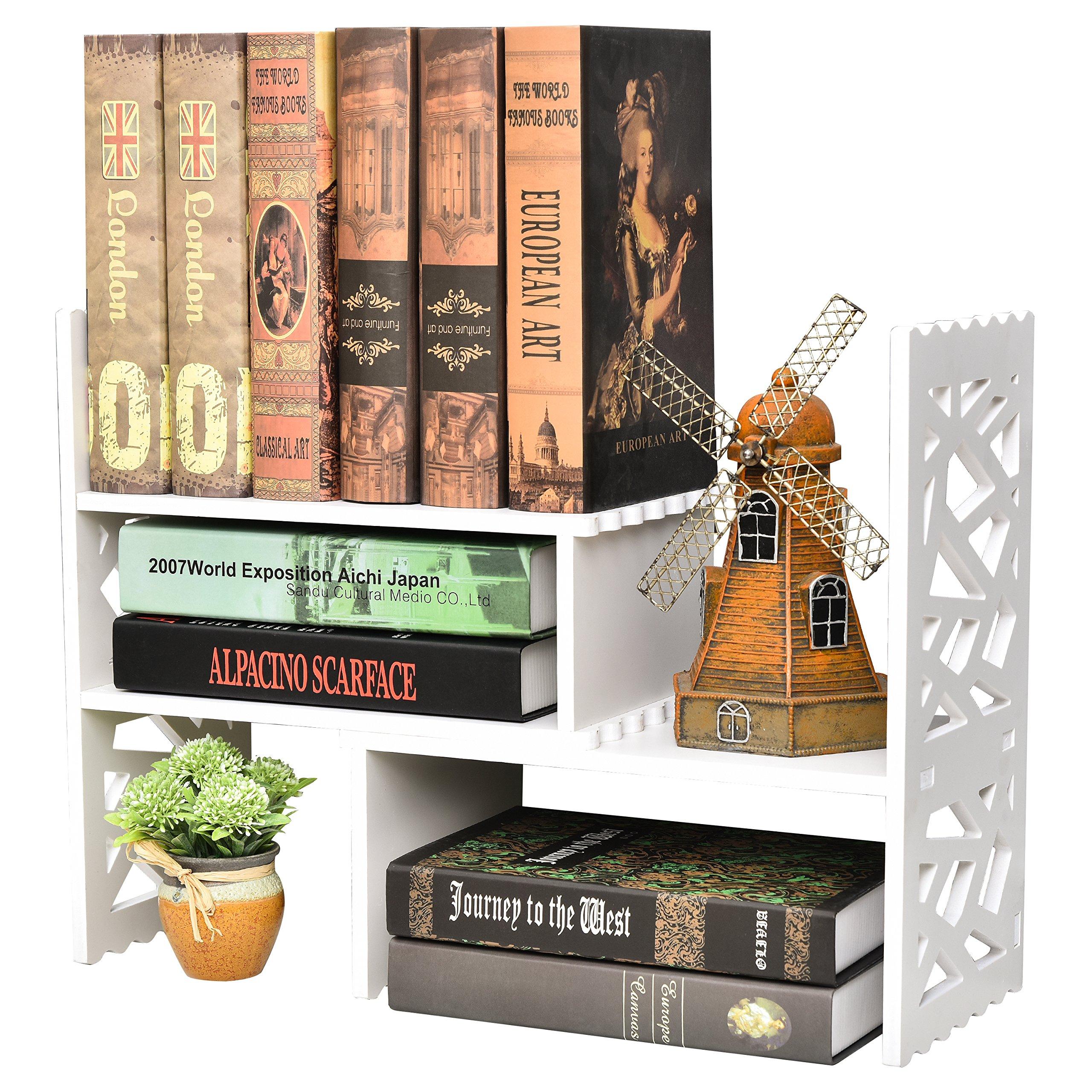 Expandable Openwork Desktop Bookshelf Organizer, Shelving Unit, White Matte Finish