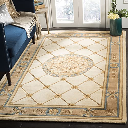 Safavieh Naples Collection NA523B Handmade Ivory and Caramel Wool Area Rug, 6 feet by 9 feet 6 x 9