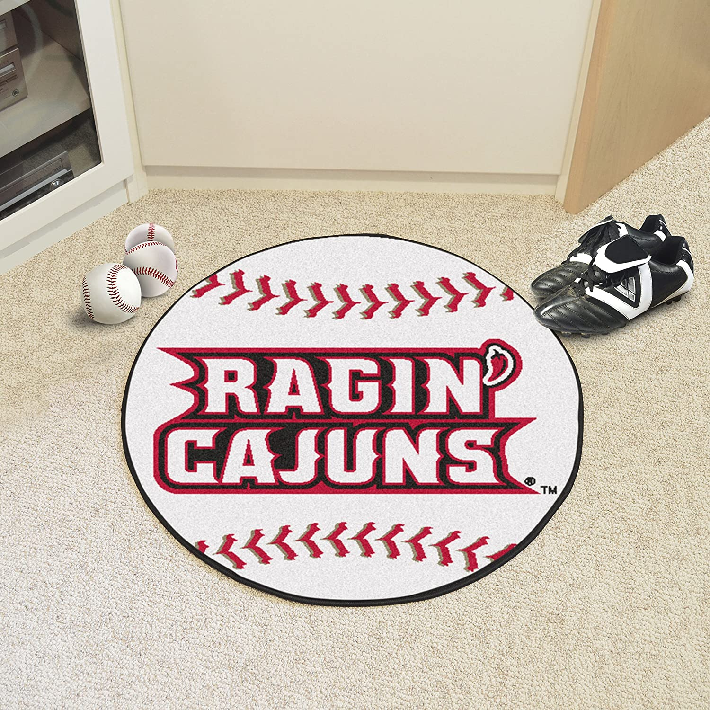 FANMATS NCAA Louisiana-Lafayette Ragin Cajuns Nylon Face Soccer Ball Rug 3074