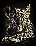 Reeves - Lámina para grabar en oro (20 x 25 cm), diseño de leopardo de perfil