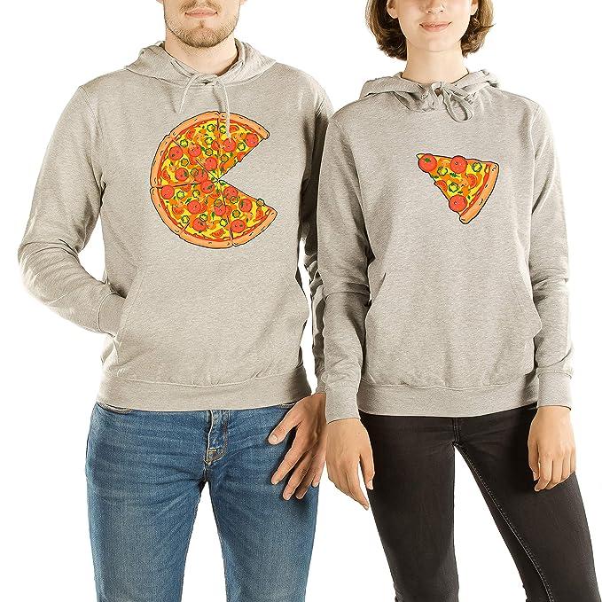 VivaMake Set de 2 Sudaderas para Parejas Hombre y Mujer con Diseño Amantes de Pizza: Amazon.es: Ropa y accesorios