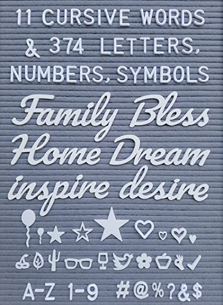 amazon com letter board words and extra letters set 11 cursive