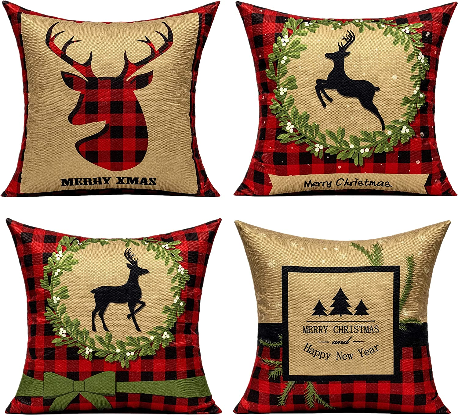 All Smiles Christmas Gold Red Throw Pillow Covers Buffalo Check Plaid Cushion Cases Happy New Year Décor 18x18 Deer PiIlowcase Tree Prints Xmas Decorations for Sofa Couch Bed