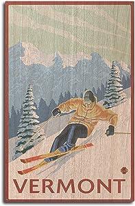 Lantern Press Vermont - Downhill Skier Scene (10x15 Wood Wall Sign, Wall Decor Ready to Hang)